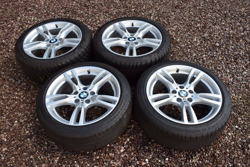 genuine bmw 18 400m 3 series f30 f31 staggered alloy wheels winter snow tyres refurbished. Black Bedroom Furniture Sets. Home Design Ideas
