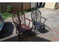 2 carver style kitchen chairs
