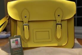 GENUINE WOOSTER, BRITISH MADE LEATHER SATCHEL BRIGHT YELLOW