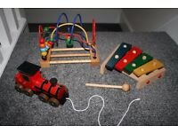 Wooden toy bundle - xylophone, maze, pull a long train CAN POST