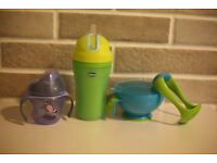 Chicco/ Tommee Tippee water bottle + Nuby plate with masher