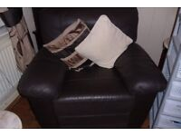 2 x 2 seater sofa and reclining chair dark brown leather