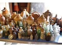 Old Stone and Glass Bottles