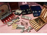 Job Lot Silver Plated and Stainless Steel Cutlery Spoons etc