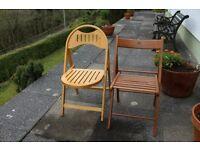2 x garden chairs, wooden fold up