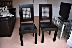 Pair of Rare Vintage Black Solid Oak Dining Chairs