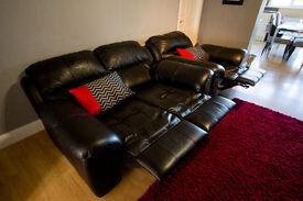 Power Recliner Sofa Suite - Black Italian Leather