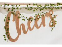Cheers sign Bar sign Wedding Sign 3mm bamboo for Marquee or events