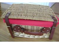 WICKER LINED HAMPER BASKET