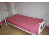 Childs Single Bed with mattress Metal Frame and headboards