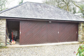 3 sliding wood garage doors, lock and keys at both ends, very good condition