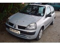 Renault Clio Expression 1149cc petrol, 2003-52-plate, 123,000 miles, new mot upon purchase