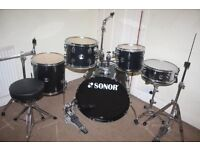 """Sonor Extreme Force Black 5 Piece Complete Drum Kit (22"""" Bass) + All Stands + Stool + Cymbal Set"""
