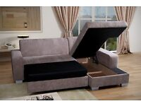 Very nice Brand New Corner Sofa Bed With Storage..GREY OR BEIGE. Can deliver