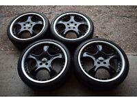 """19"""" Kleemann TS5 2 Piece Alloy Wheels Tyres Mercedes AMG C E Class CLK Audi VW Satin Black"""