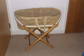 Clair de Lune moses basket with foldable stand and linen. Smoke free pet free home.