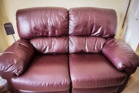 3 piece, leather, Nelson 2 seater recliner (both sides) settee + 2 recliner chairs