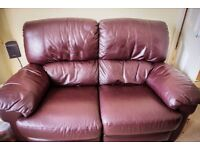 3 piece suite, 3 piece leather suite, Nelson 2 seater recliner both sides settee 2 recliner chairs