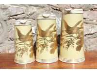 Set of 3 Beautifully Decorated Victorian Graduating Jugs 1880's Charles Barlow Bird Flowers Gold