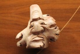 Hand Carved Wooden Ogre Troll Face Figure Ornament Fantasy Myth Harry Potter Hobbit Art