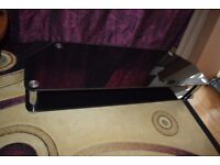 Long and Low Black Glass and Chrome 2 shelf TV table / stand