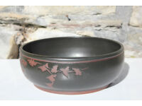 Unusual Large Handmade Studio Pottery Fruit Bowl Salad Serving Flower Art Pottery 1983 Dish