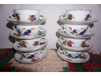 Royal Worcester Evesham Gold set eight soup bowls and saucers
