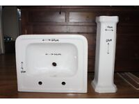 Brand New Rectangular Ceramic Sink and Pedestal for sale