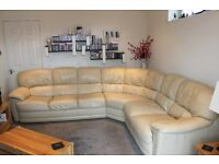 Large 6 seater cream leather corner unit in good condition, no smoking house or pets.