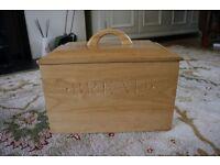 Wooden Bread Kitchen Storage Bin Box lift off lid used