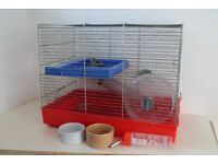 Hamster Cage with wheel, water feeder, bowls, food and bedding £10