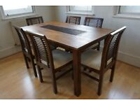 Designer walnut stain solid wood dining table and six chairs
