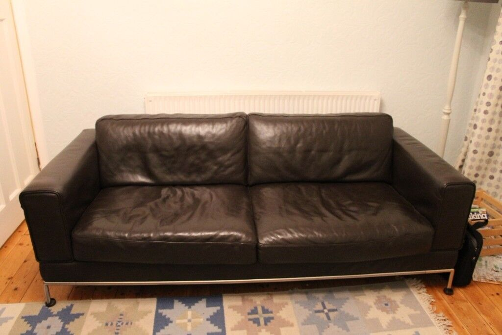 ikea arild brown leather three seater sofa in halesowen west midlands gumtree. Black Bedroom Furniture Sets. Home Design Ideas