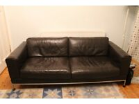Ikea Arild brown leather three seater sofa