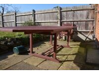 REDUCED MUST SELL 10x3.6ft TABLE COST £3,100 LATTICE DETAIL CHAIRS X 8 and BENCH