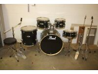 Pearl EXX Series Black 5 Piece Full Drum Kit Opti-Loc Mounts 22in Bass Paiste 101 Cymbals £475 ono