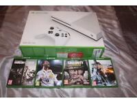 X Box One S Console and 4 Top Games