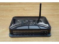 Netgear N150 Wireless Modem Router DGN1000, 4 x 10/100 Ethernet ports, AC/DC Adapter