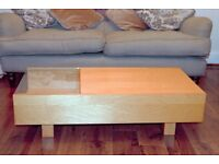Wooden Coffee Table- with sliding storage and glass