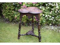 Antique table,trefoil table,occasional table,victorian,carved oak,solid oak,