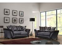 BRAND NEW SHANNON CHENILLE FABRIC 3+2 SEATER SETTEE OR DUAL ARM CORNER SOFA SUITE BLACK GREY COLOR
