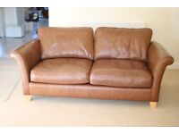 Chestnut Brown 3 Seater Leather Sofas in Pristine Condition