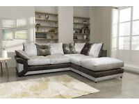 *1 YEAR WARRANTY* BRAND NEW MAX DIAMOND CRUSHED VELVET CORNER SOFA *MADE IN UK*