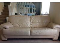 Barker & Stonehouse Cream Italian Leather Sofa
