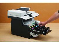 HP COLOUR LASERJET CM1312nfi, FAX, SCAN, PRINTER & COPIER, FOR SPARE OR REPAIR, PRINTS NOT CLEAR.