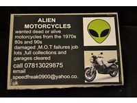 motorcycles wanted from the 1970s 80s and 90s barn finds mot failures damaged anything considered