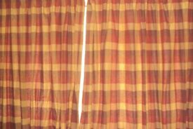 Double width curtains with linens (7ft6ins drop) & Hooks & Tie backs