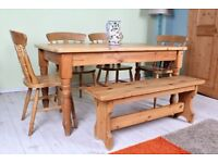 DELIVERY OPTIONS - 5 FT PINE FARMHOUSE TABLE BENCH & 4 FIDDLE BACK CHAIRS WAXED