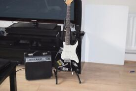 MEDUSA ELECTRIC GUITAR WITH/FENDER AMP 42W/STAND CANBE SEENWORKING