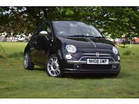 2008 FIAT 500 LOUNGE RHD BLACK 1.2 PETROL 3 DR MANUAL ***RED LEATHER SEATS***WHITE INTERIOR***